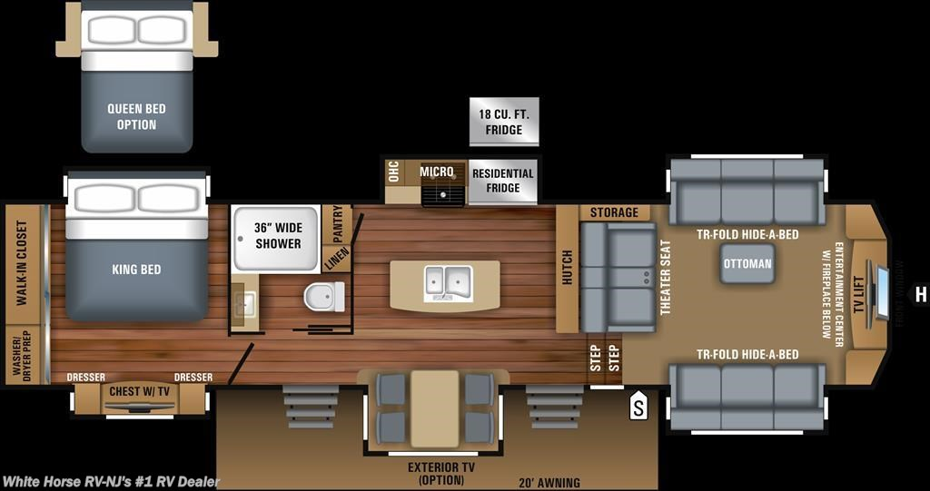 ... 2018 Jayco Pinnacle 38FLWS Front Living Room Rear King W/6 Slideouts   Fifth  Wheel White Horse RV ...