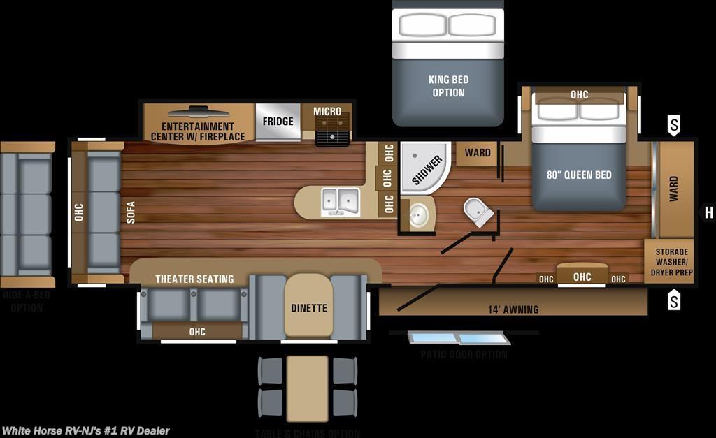 J11763 2018 Jayco Jay Flight 34RSBS Rear Living Room Triple – Rear Bedroom Travel Trailer Floor Plans