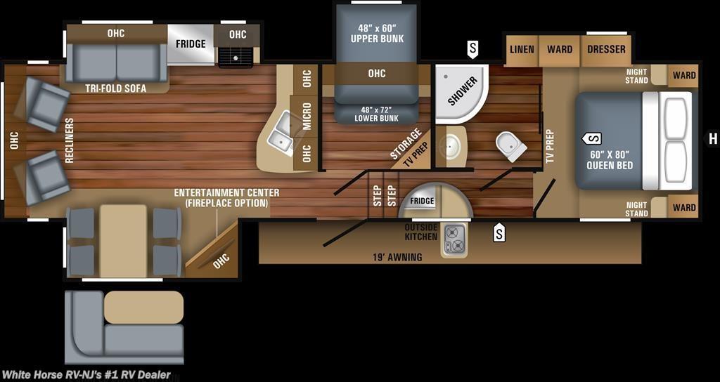 Ea11955 2018 Jayco Eagle Ht 30 5mbok Mid Bunk Rear Living Room