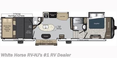 2015 Keystone Raptor 395LEV Triple Slide Rear Garage floorplan image