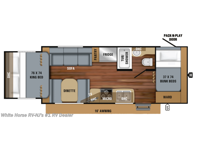 Floorplan of 2019 Jayco Jay Feather 213 Front Bunks w/King Bed Rear Slideout