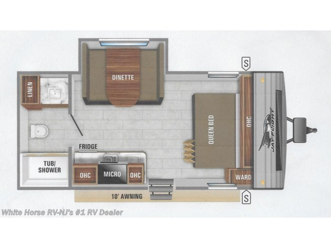 Floorplan of 2020 Jayco Jay Flight SLX 183RB Queen w/Rear Bath & Dinette Slideout