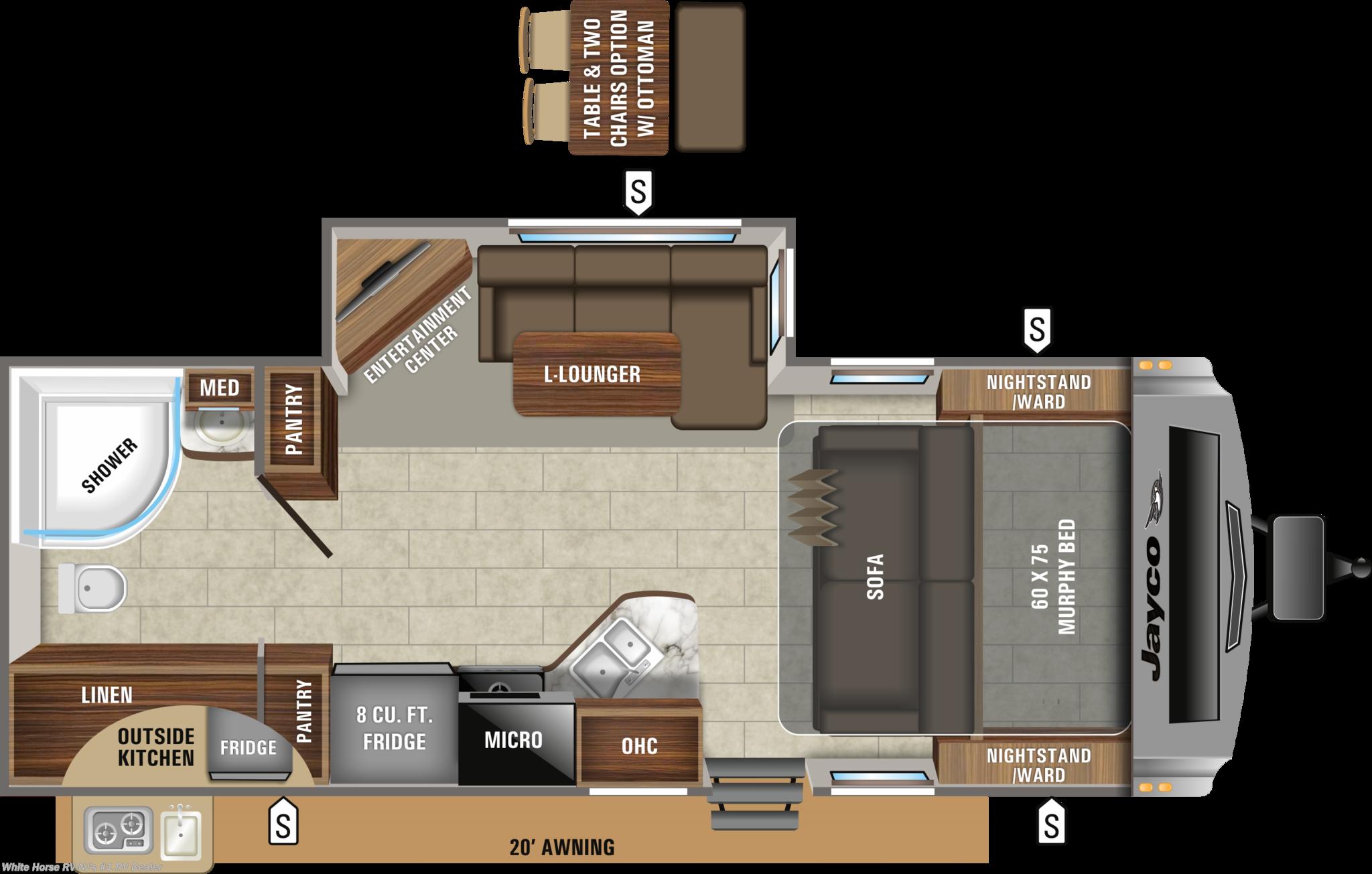 2020 Jayco White Hawk 23mrb Murphy Bed W Rear Bath L Dinette Slideout Rv For Sale In Williamstown Nj 08094 Wh12793 Rvusa Com Classifieds