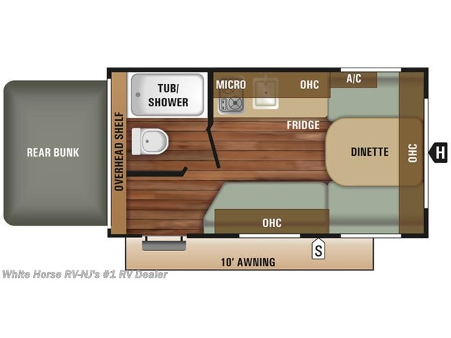 Floorplan of 2018 Starcraft Autumn Ridge Outfitter 15RB Front Dinette/Bed, Rear Queen Bed End