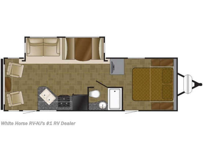 Floorplan of 2018 Heartland Mallard M27 Sofa/Bed & Dinette Slide, Rear Living Room