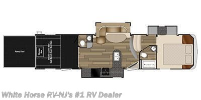 Floorplan of 2015 Heartland Torque TQ 325 Triple Slide, 1 & 1/2 Baths, 10' Garage!
