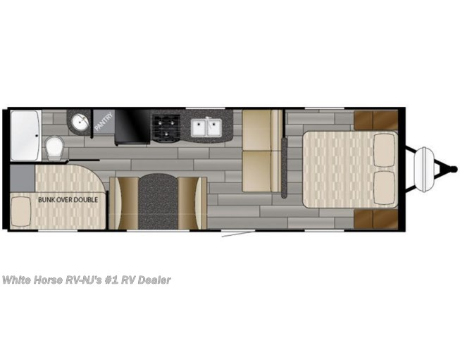 Floorplan of 2018 Heartland Prowler Lynx 25 LX 2-BdRM Front Queen, Rear DBL Bed Bunks