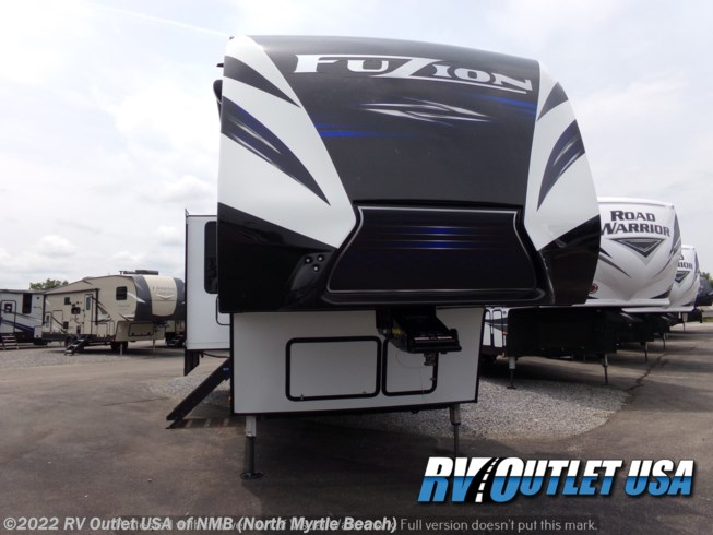 2020 Keystone Fuzion 419 - New Toy Hauler For Sale by RV Outlet USA of NMB (North Myrtle Beach) in Longs, South Carolina features Air Conditioning, Automatic Leveling Jacks, Auxiliary Battery, Enclosed Underbelly, Enclosed Water Tank, Exterior Speakers, Fire Extinguisher, Fuel Cell w/ Pump Station, Furnace, Generator, Kitchen Sink, Ladder, LED Lights, Microwave, Overhead Cabinetry, Pantry, Power Awning, Propane, Ramp, Refrigerator, Removable Table, Roof Vent, Screen Door, Second Roof A/C, Shower, Slideout, Smoke Detector, Stereo System, Stove Top Burner, Surround Sound System, Toilet, TV, Wardrobe(s)