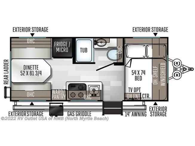Floorplan of 2021 Forest River Flagstaff E-Pro E19RD