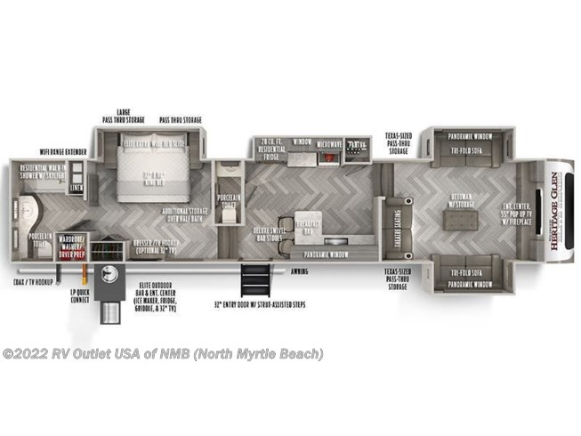 Floorplan of 2021 Forest River Wildwood Heritage Glen Elite 36FL