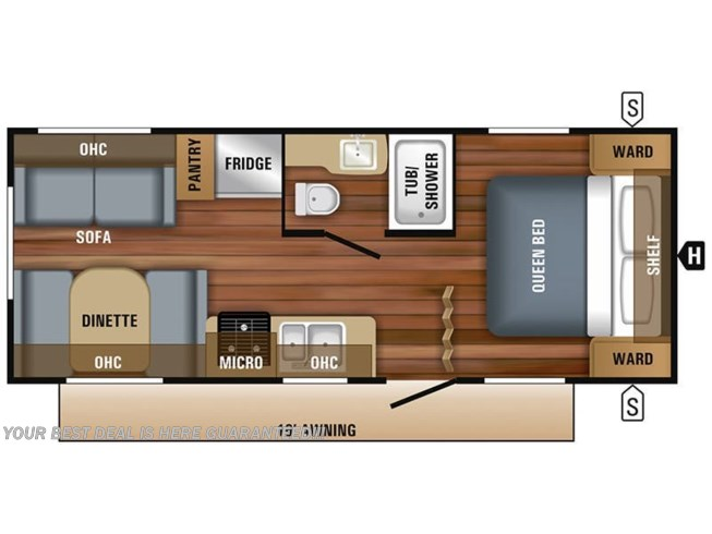 Floorplan of 2020 Jayco Jay Flight SLX 212QB