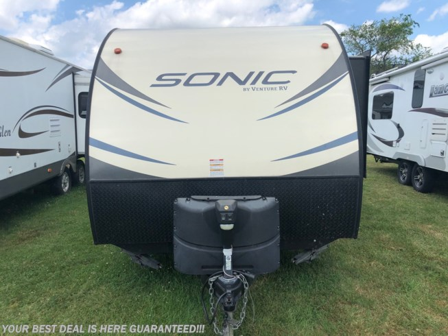 2018 Venture RV Sonic SN220VBH - Used Travel Trailer For Sale by Delmarva RV Center in Smyrna in Smyrna, Delaware features Auxiliary Battery, Awning, Bunk Beds, CD Player, CO Detector, DVD Player, Exterior Speakers, External Shower, Leveling Jacks, LP Detector, Medicine Cabinet, Power Roof Vent, Queen Bed, Refrigerator, Roof Vents, Shower, Skylight, Slideout, Smoke Detector, Stove Top Burner, Toilet, U-Shaped Dinette, Water Heater