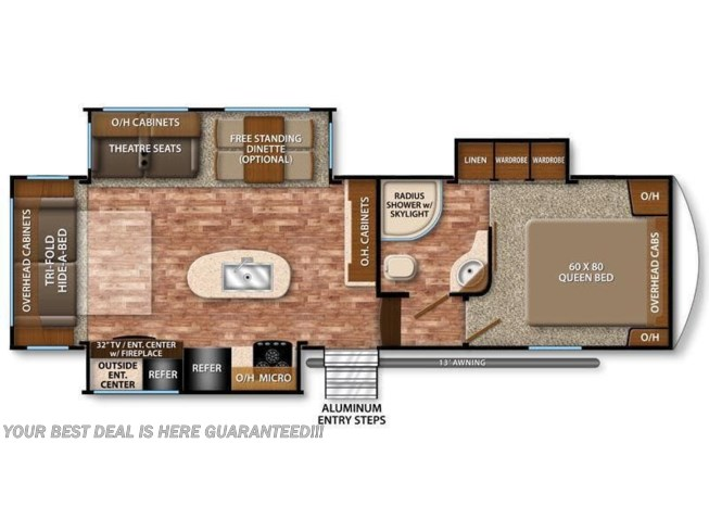 2017 Grand Design Reflection 29RS floorplan image