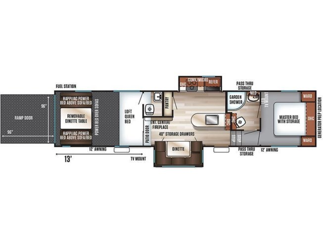 2019 Forest River Cherokee Wolf Pack 325PACK13 floorplan image