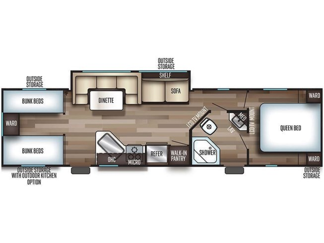 2020 Forest River Cherokee Grey Wolf 29TE floorplan image