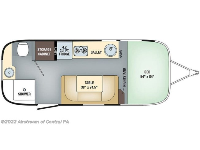 2019 Airstream Sport 22FB floorplan image