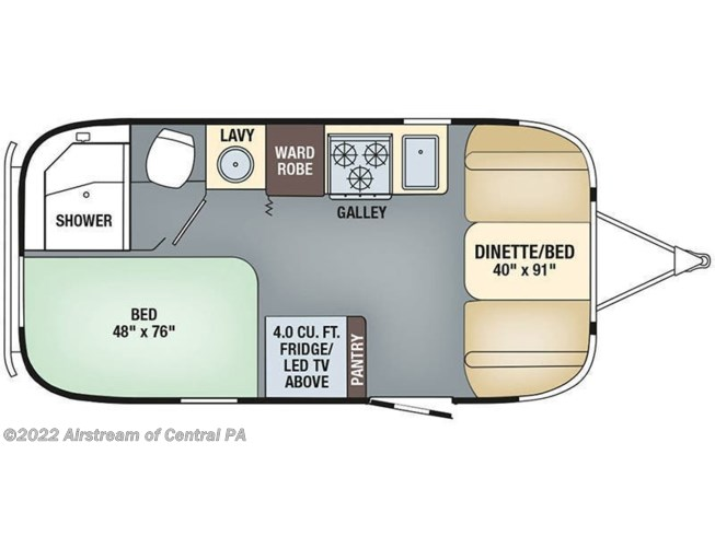 2019 Airstream Flying Cloud 19CB floorplan image