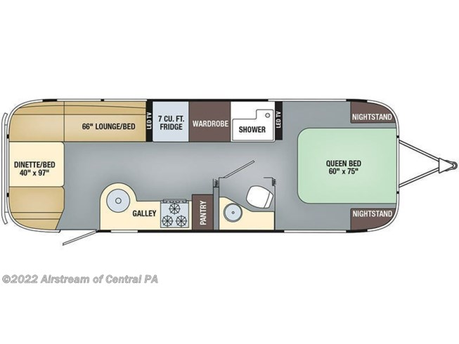 Floorplan of 2019 Airstream Flying Cloud 27FB