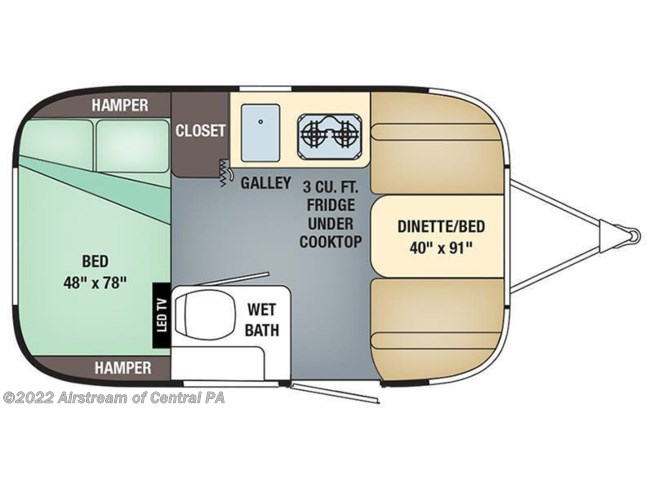 2019 Airstream Sport 16RB floorplan image
