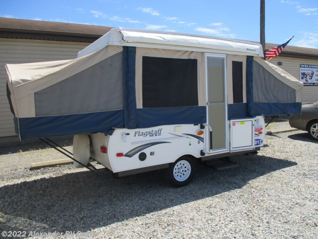 2013 Forest River Flagstaff M.A.C. 205 - Used Popup For Sale by Alexander RV Center in Clayton, Delaware features Auxiliary Battery, Awning, Battery Charger, Booth Dinette, Converter, Exterior Grill, External Shower, Furnace, Leveling Jacks, LP Detector, Non-Smoking Unit, Power Roof Vent, Queen Bed, Refrigerator, Roof Vents, Shower, Smoke Detector, Spare Tire Kit, Stove Top Burner, Toilet, Water Heater