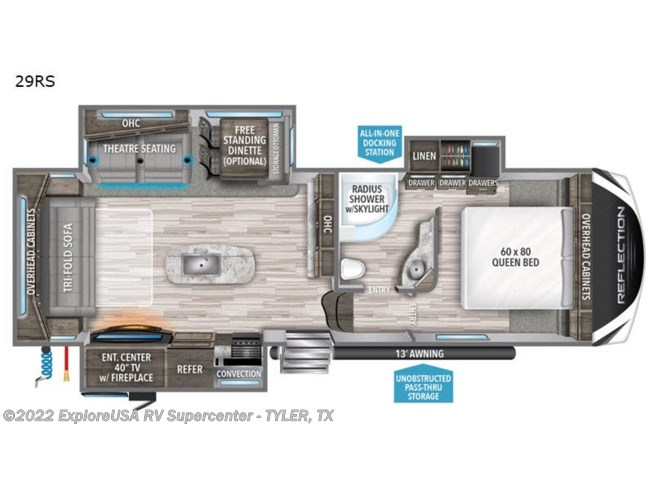 2020 Grand Design Reflection 29RS - New Fifth Wheel For Sale by ExploreUSA RV Supercenter - TYLER, TX in Tyler, Texas features Slideout