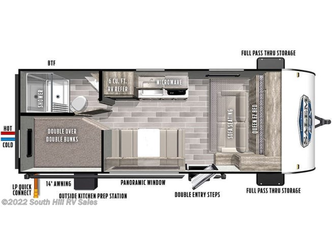 Floorplan of 2021 Forest River Salem FSX 179DBK