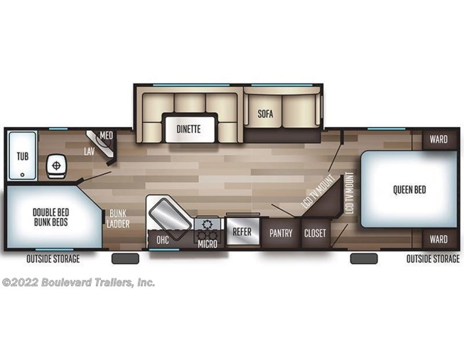 Floorplan of 2019 Forest River Grey Wolf 26DBH