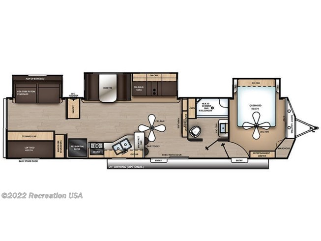 Floorplan of 2021 Coachmen Catalina Destination 40BHTS