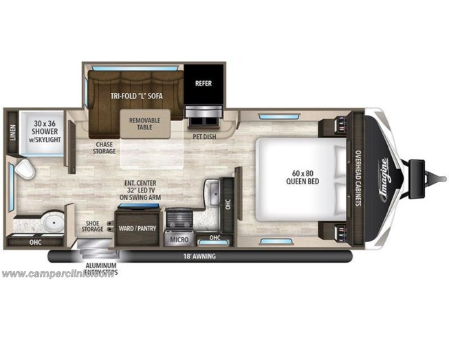 2017 Grand Design Imagine 2150RB floorplan image