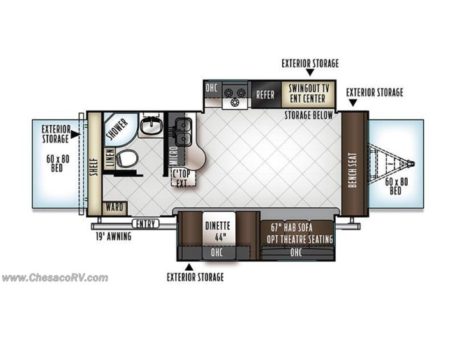 2018 Forest River Rockwood Roo 23FL floorplan image
