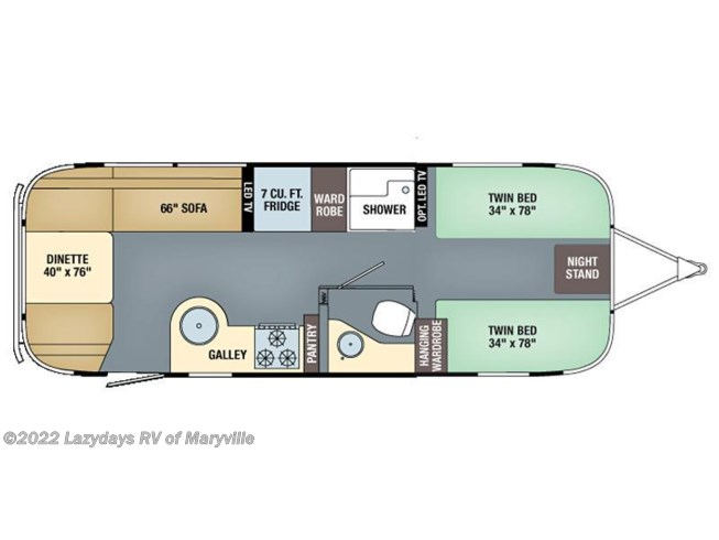 2017 Airstream Flying Cloud 25FB Twin floorplan image