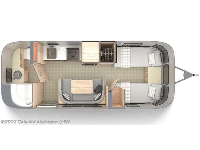 2020 Airstream Globetrotter 23FBT Twin floorplan image