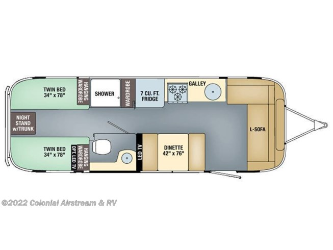 Floorplan of 2016 Airstream Flying Cloud 28A Twin