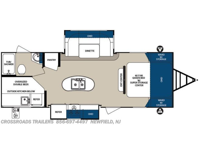 2016 Forest River Surveyor 247BHDS floorplan image