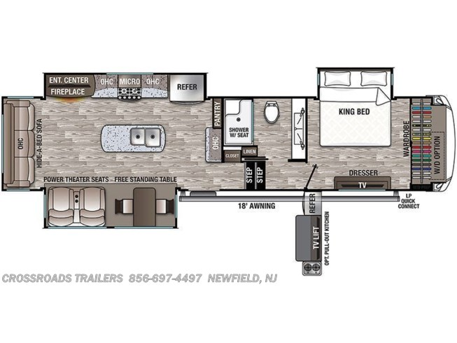 Floorplan of 2021 Forest River Cedar Creek Hathaway Edition 34IK