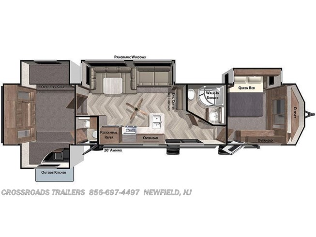 Floorplan of 2021 Forest River Salem Villa 42QBQ