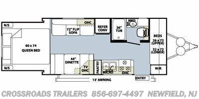 Floorplan of 2010 Forest River Rockwood Roo 21RS